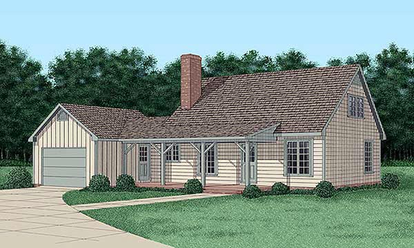 House Plan 45449 | Country Style Plan with 1646 Sq Ft, 4 Bedrooms, 2 Bathrooms, 2 Car Garage Elevation