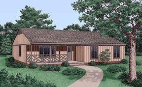 Ranch House Plan 45450 Elevation