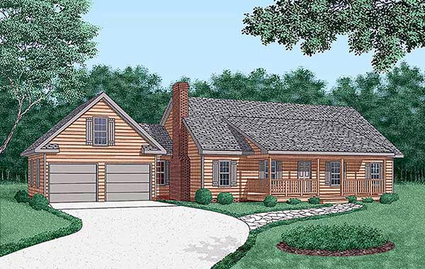 Ranch House Plan 45452 with 3 Beds, 2 Baths, 2 Car Garage Elevation