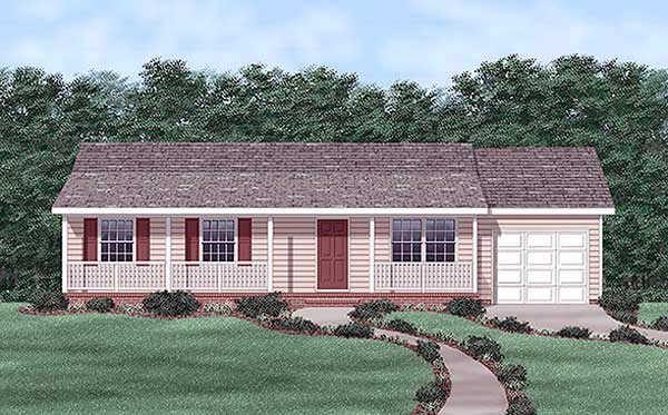 One-Story, Ranch House Plan 45454 with 3 Beds, 2 Baths, 1 Car Garage Elevation