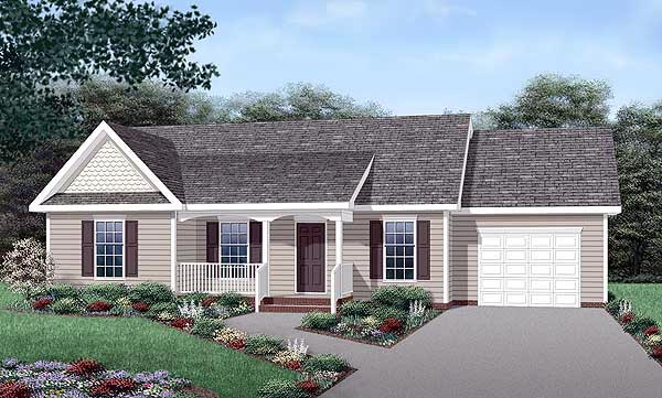 Country House Plan 45455 with 3 Beds, 2 Baths, 1 Car Garage Elevation