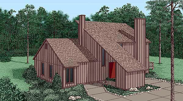 Contemporary House Plan 45456 with 3 Beds, 2 Baths Elevation