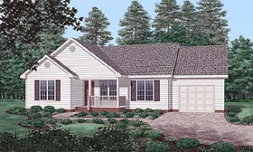 Traditional House Plan 45457 with 3 Beds, 2 Baths, 1 Car Garage Elevation