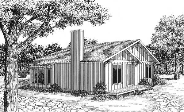 Contemporary Narrow Lot One-Story Elevation of Plan 45459
