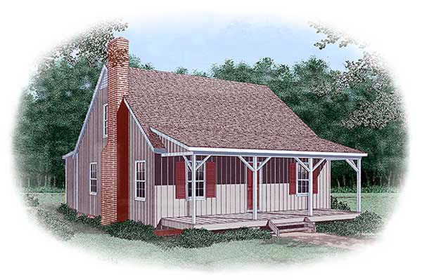 Country, Narrow Lot House Plan 45460 with 4 Beds, 2 Baths Elevation