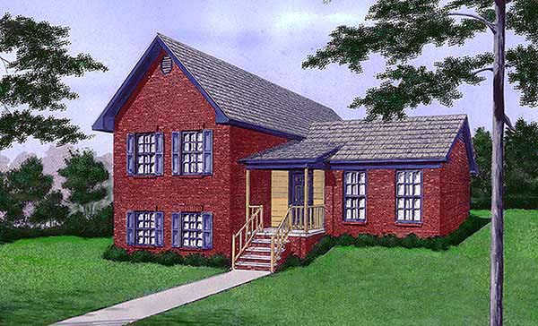 House Plan 45463 | Traditional Style Plan with 1707 Sq Ft, 4 Bedrooms, 2 Bathrooms Elevation