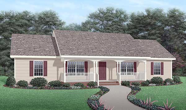 One-Story, Ranch House Plan 45467 with 4 Beds, 2 Baths