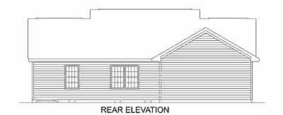 Ranch , Rear Elevation of Plan 45468