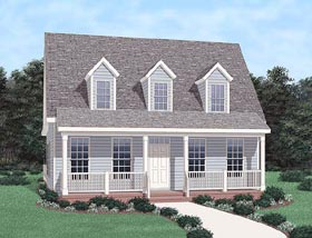 House Plan 45472 | Cape Cod Style Plan with 1786 Sq Ft, 3 Bedrooms, 3 Bathrooms Elevation