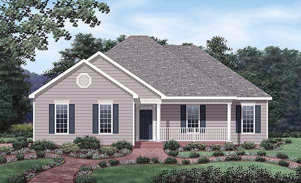 European House Plan 45479 with 3 Beds, 2 Baths, 2 Car Garage Elevation