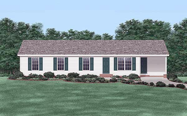 One-Story, Ranch House Plan 45481 with 4 Beds, 2 Baths, 1 Car Garage Elevation