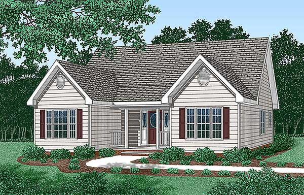 Narrow Lot One-Story Traditional Elevation of Plan 45483