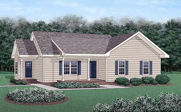 One-Story, Ranch House Plan 45485 with 3 Beds, 2 Baths Elevation