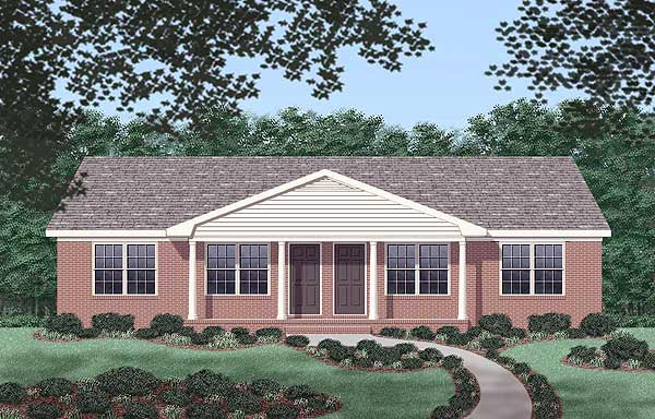 One-Story, Ranch Multi-Family Plan 45487 with 4 Beds, 2 Baths Elevation