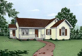 House Plan 45488 | Ranch Style Plan with 1115 Sq Ft, 3 Bed, 2 Bath Elevation
