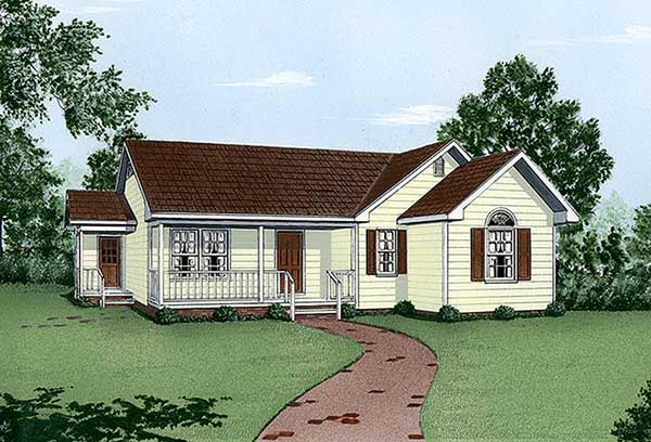 One-Story, Ranch House Plan 45488 with 3 Beds, 2 Baths Elevation