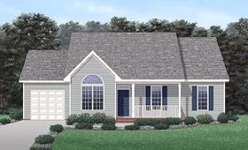House Plan 45493 | Traditional Style Plan with 1317 Sq Ft, 3 Bedrooms, 2 Bathrooms, 1 Car Garage Elevation