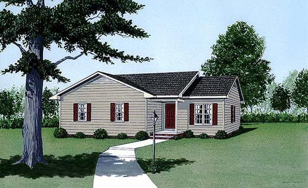 Narrow Lot, One-Story, Traditional House Plan 45495 with 3 Beds, 2 Baths Front Elevation