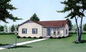 Traditional House Plan 45496 with 4 Beds, 2 Baths Elevation