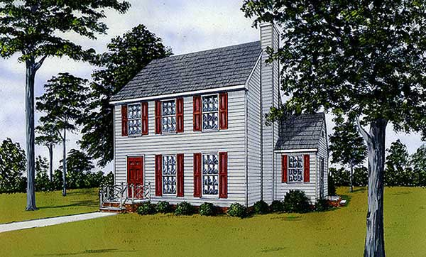 Colonial House Plan 45497 Elevation