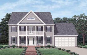 Colonial House Plan 45498 with 3 Beds, 3 Baths, 2 Car Garage Elevation