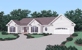 Traditional House Plan 45499 with 3 Beds, 2 Baths, 2 Car Garage Elevation