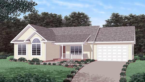 One-Story, Traditional House Plan 45501 with 3 Beds, 2 Baths, 2 Car Garage Elevation