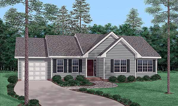 One-Story, Traditional House Plan 45502 with 3 Beds, 2 Baths, 1 Car Garage Front Elevation
