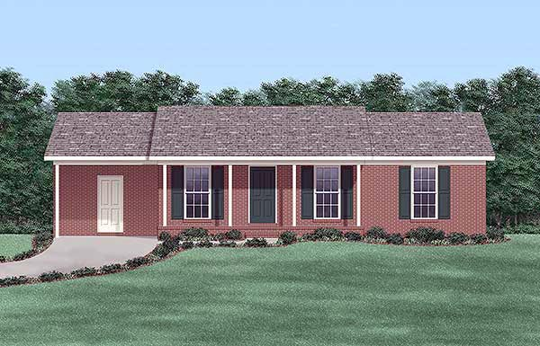 One-Story Ranch Elevation of Plan 45507