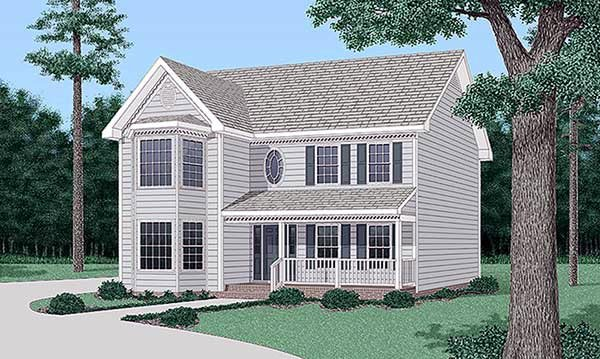 Country, Narrow Lot House Plan 45508 with 3 Beds, 3 Baths Elevation