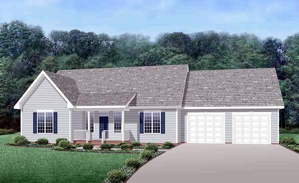 Country Ranch House Plan 45510 Elevation