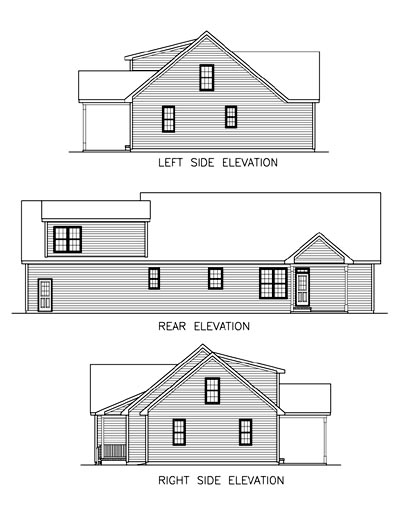 Country , One-Story , Ranch , Rear Elevation of Plan 45510