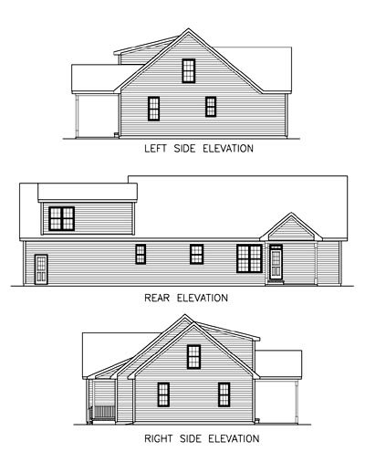 Country Ranch House Plan 45510 Rear Elevation