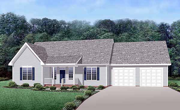 Country, Ranch House Plan 45513 with 3 Beds, 2 Baths, 2 Car Garage Elevation