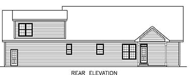 Country, Ranch House Plan 45513 with 3 Beds, 2 Baths, 2 Car Garage Rear Elevation