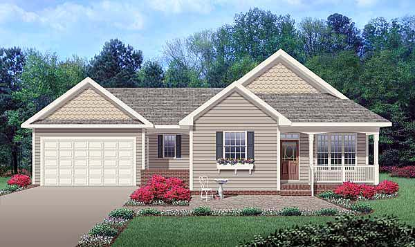 Ranch Traditional Elevation of Plan 45514