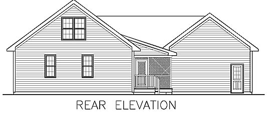 Ranch Traditional Rear Elevation of Plan 45514