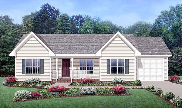 Country , Ranch House Plan 45515 with 3 Beds, 2 Baths, 1 Car Garage Elevation