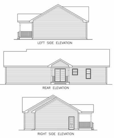 Country Ranch House Plan 45515 Rear Elevation