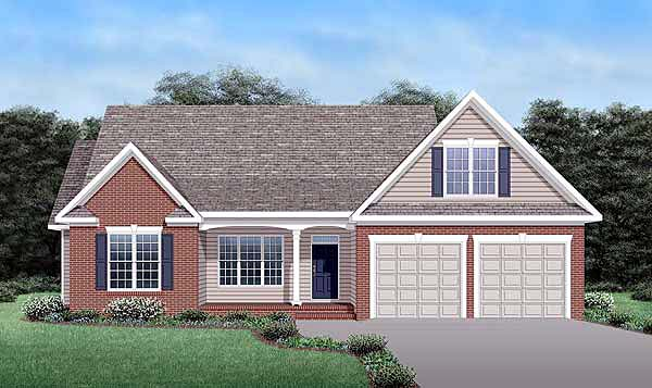 Craftsman House Plan 45517 with 3 Beds, 3 Baths, 2 Car Garage Elevation