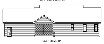 Craftsman , Traditional House Plan 45519 with 3 Beds, 2 Baths, 2 Car Garage Rear Elevation