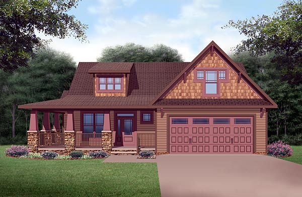 Craftsman House Plan 45521 with 3 Beds, 3 Baths, 2 Car Garage Elevation