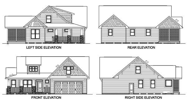 Craftsman House Plan 45521 with 3 Beds, 3 Baths, 2 Car Garage Rear Elevation