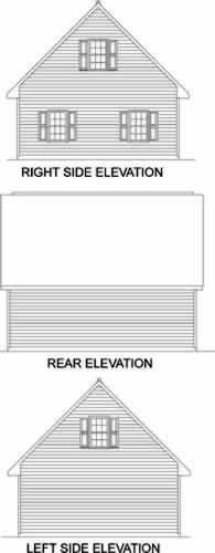 Garage Plan 45522 | Style Plan, 2 Car Garage Rear Elevation