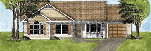 One-Story, Ranch House Plan 45600 with 3 Beds, 2 Baths, 1 Car Garage Elevation