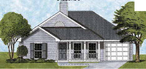 European, One-Story House Plan 45603 with 3 Beds, 2 Baths, 2 Car Garage Elevation