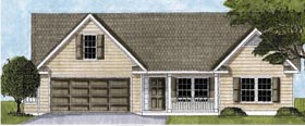 House Plan 45605 | Ranch Traditional Style Plan with 1348 Sq Ft, 3 Bedrooms, 2 Bathrooms, 2 Car Garage Elevation