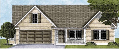 One-Story, Ranch, Traditional House Plan 45605 with 3 Beds, 2 Baths, 2 Car Garage Elevation