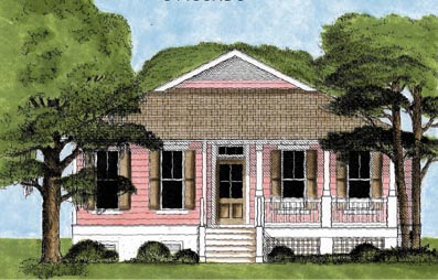 Bungalow, Contemporary, Narrow Lot, One-Story House Plan 45612 with 2 Beds, 2 Baths Elevation