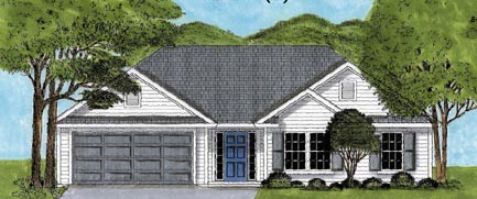 One-Story, Ranch, Traditional House Plan 45616 with 3 Beds, 2 Baths, 2 Car Garage Elevation